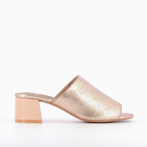Rose gold peep-toe mules with heel