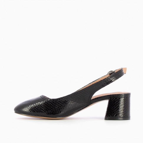 Black heeled Mary Janes with snakeskin effect