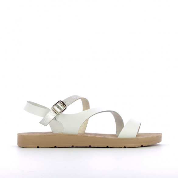 White lightweight sandals with gold strap