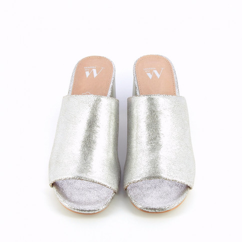 Silver peep-toe mules with heel