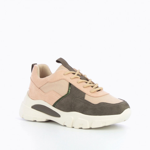 Pink and gray sneakers with air bubbles