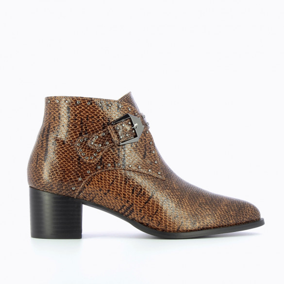 Camel snakeskin ankle boots with western heel