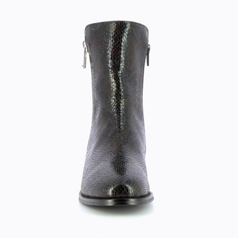 Black snakeskin ankle boots with zipper