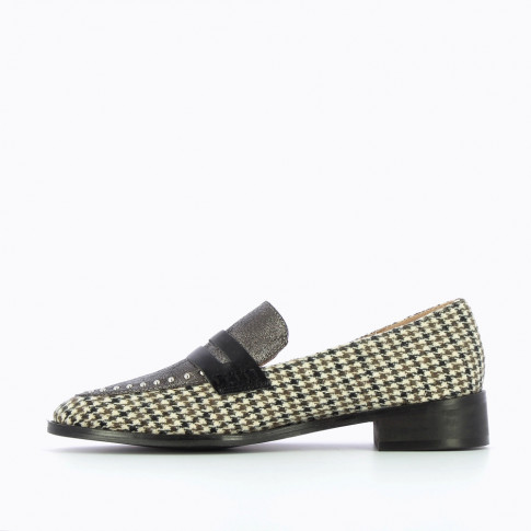 Charcoal and houndstooth loafers