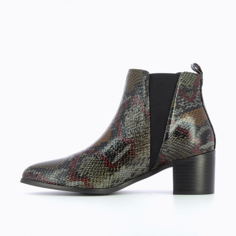 Gray snakeskin chelsea boots with heel
