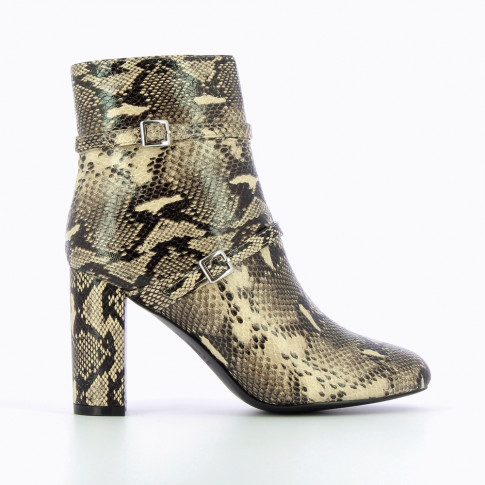 Beige snakeskin ankle boots with heel