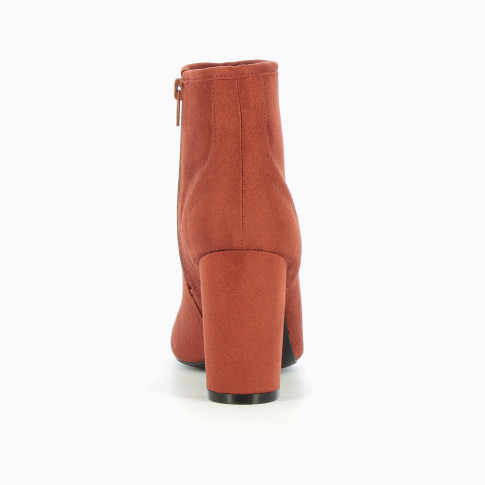 Rust-coloured suedette ankle boots