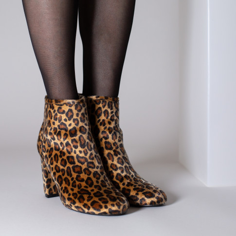 Faux fur leopard-print ankle boots with heel