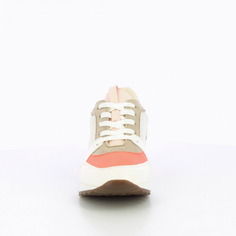 White sneakers with neon pink detailing