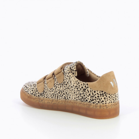 Leopard sneakers with camel velcro