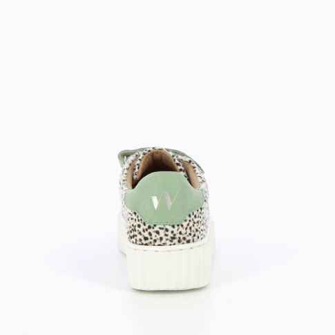 Cheetah and green sneakers with creeper sole