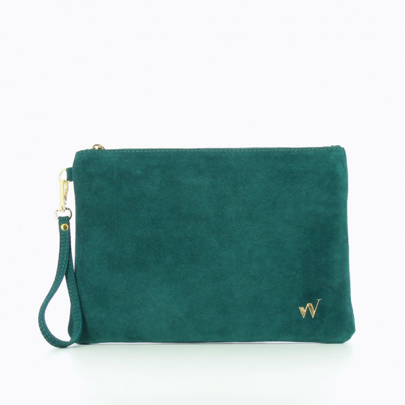 Large suede clutch in duck green