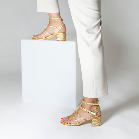 Gold braided sandals with heel