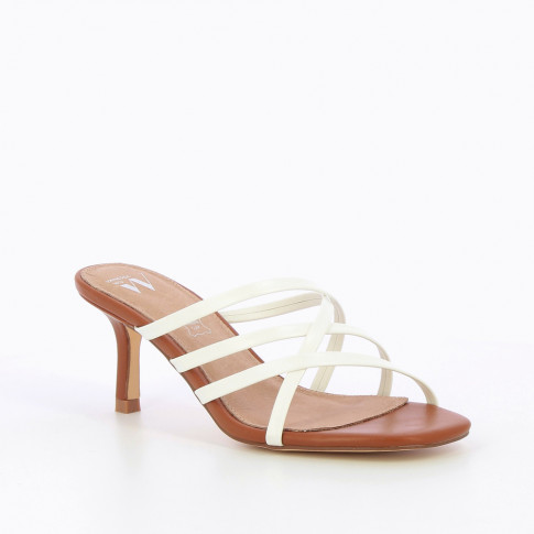 White multi-strap mules with heel
