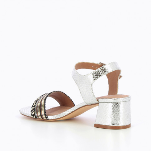 Silver sandals with low block heel and braided strap