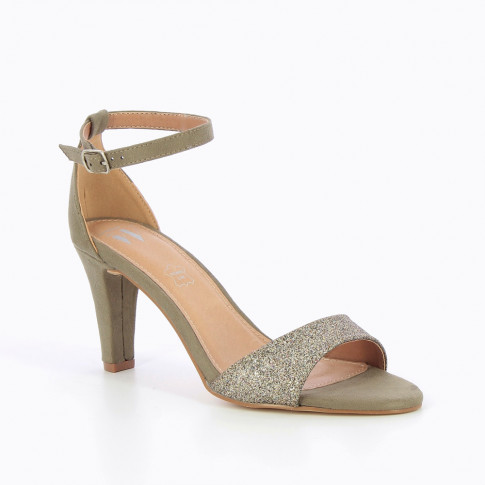 Khaki green sandals with heel and glittery strap