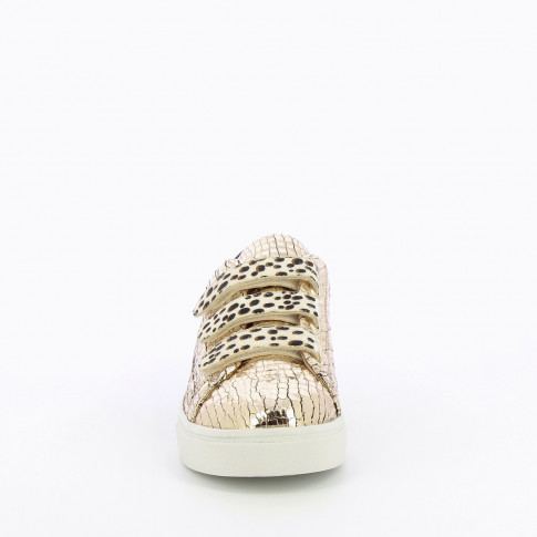 Gold crackled effect sneakers with cheetah-print velcro