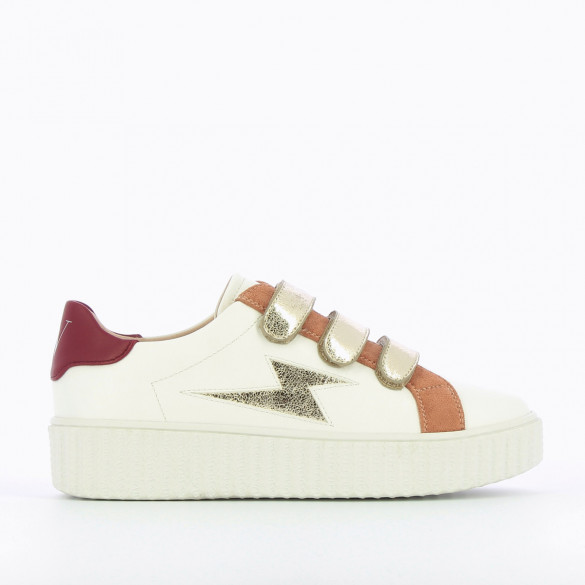 wedge platform sneakers creeper sole white faux leather woman gold velcro Vanessa Wu
