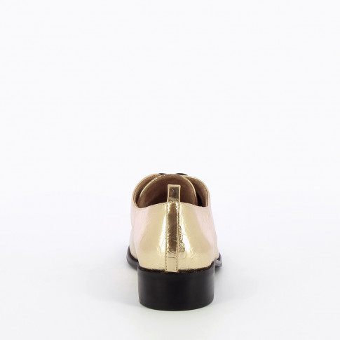 Gold square toed brogues