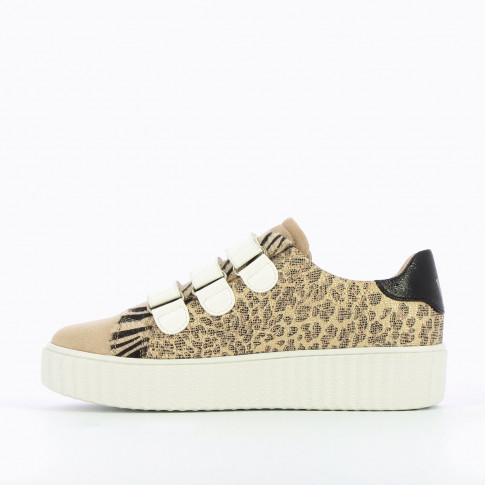 Beige lightning sneakers with leopard print
