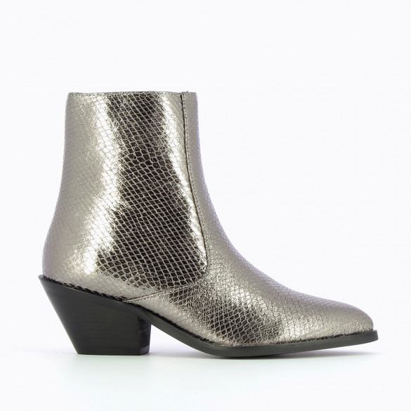 woman cowboy boots Vanessa Wu charcoal with pointed toe metallic snakeskin effect