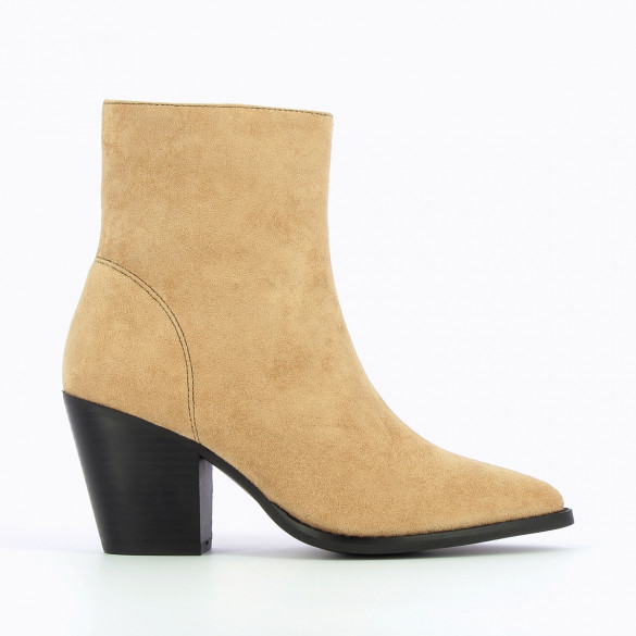 two-tone ankle boots beige and black Vanessa Wu woman cowboy style with heel and pointed toe