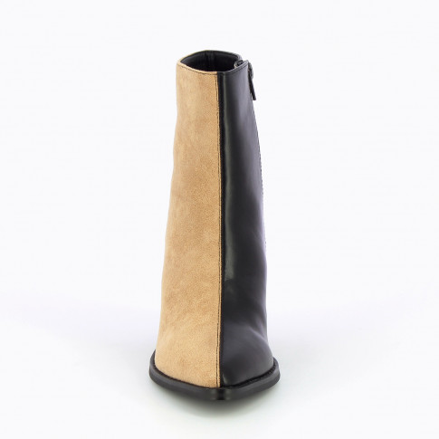 Beige and black bi-material ankle boots with heel