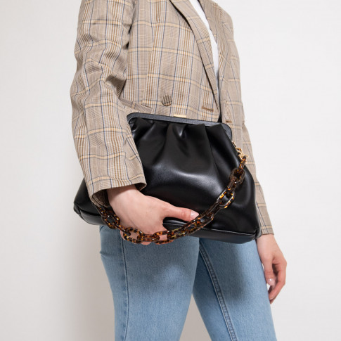 Black faux leather pleated bag
