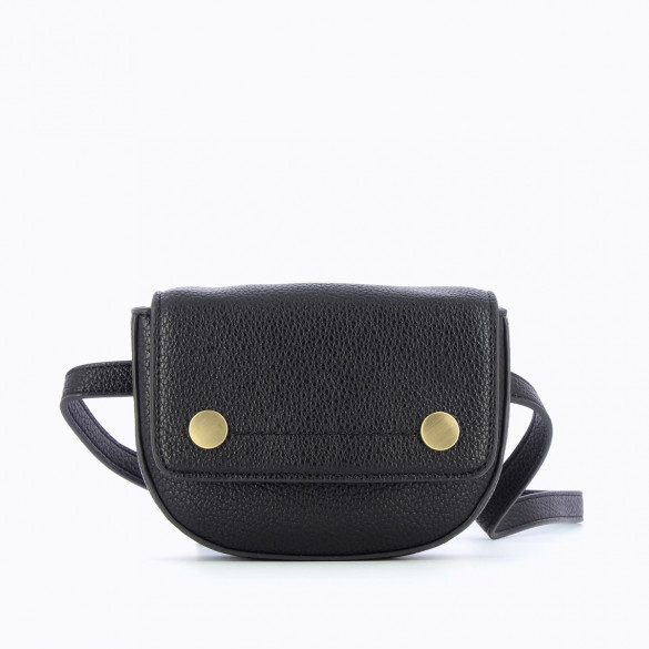 small black fanny bag in grained faux leather woman Vanessa Wu with two gold snap fasteners