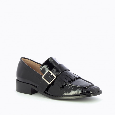 Black patent fringed loafers