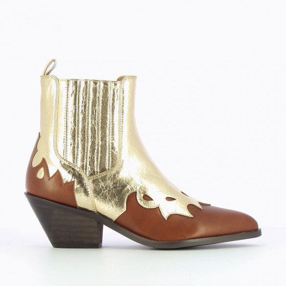 Cowboy boots Vanessa Wu woman western style camel and metallic gold pointed toe stitch details