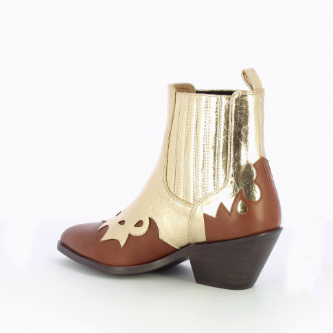 Camel and gold bi-material cowboy ankle boots