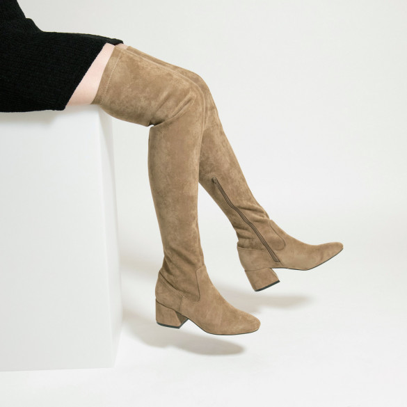 beige suedette thigh highs with small heel woman Vanessa Wu stretch