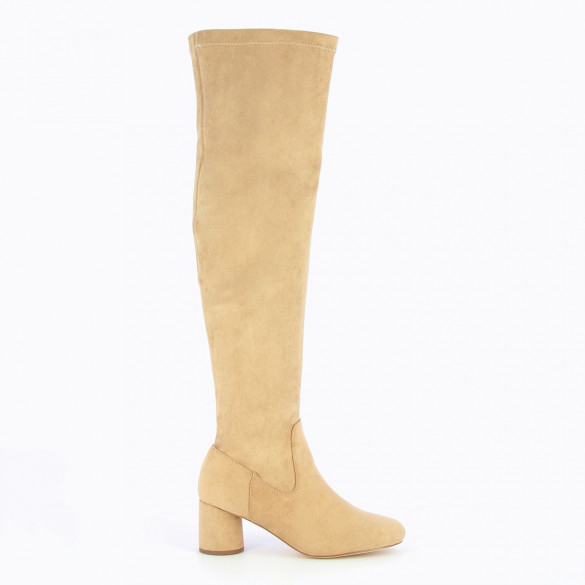 beige suedette stretch thigh highs woman with round heel Vanessa Wu