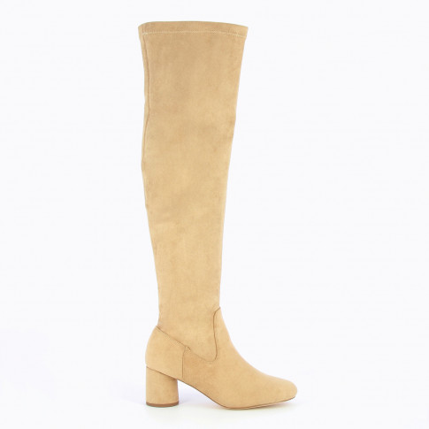 Light beige thigh highs with round heel