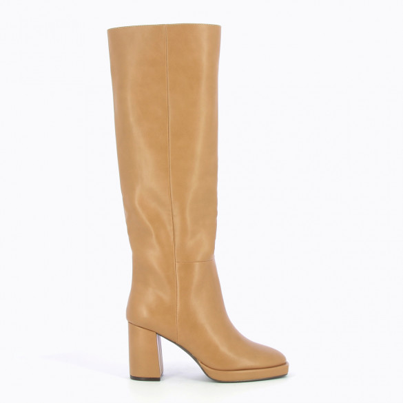 camel straight boots with heel and platform woman Vanessa Wu in faux leather