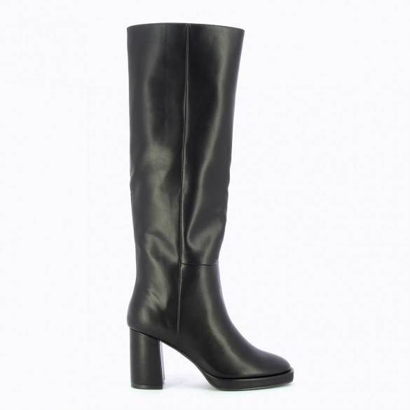 black straight boots woman Vanessa Wu with heel and platform in faux leather