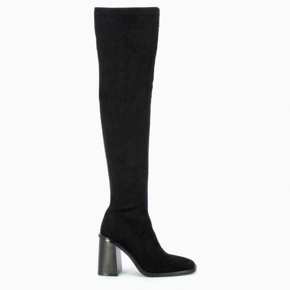 high heel thigh highs black woman Vanessa Wu in suedette stretch