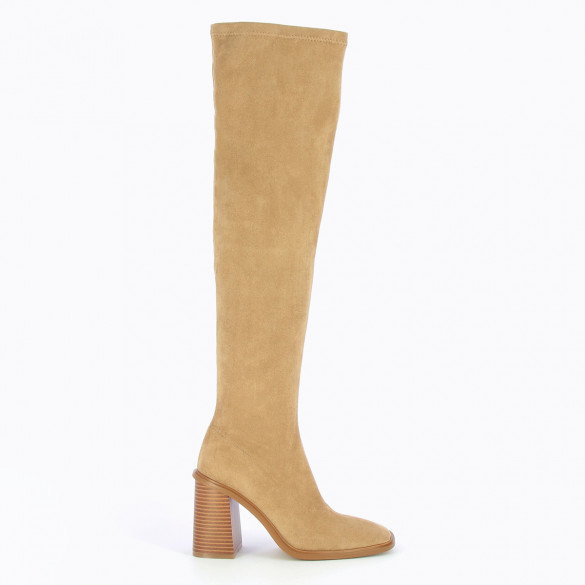 camel high heel high thighs woman in suedette stretch Vanessa Wu