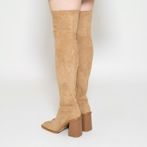 Camel thigh highs with trapezium heel and square toe