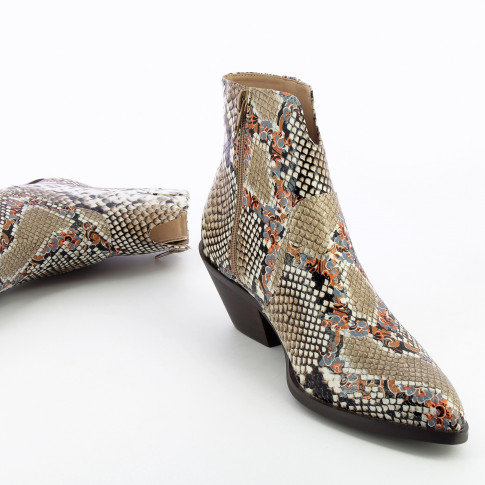 Multicolored snakeskin effect cowboy boots