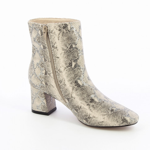 White snakeskin print ankle boots