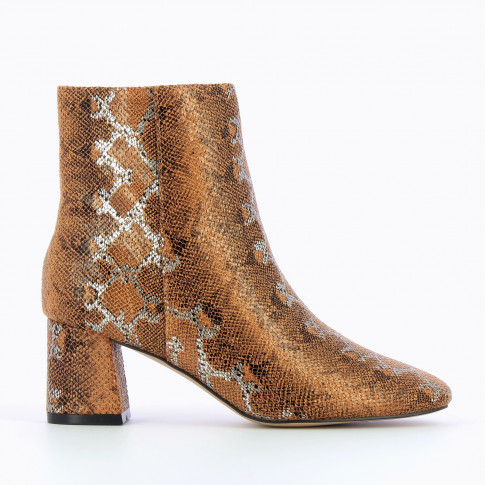 Camel snakeskin print ankle boots