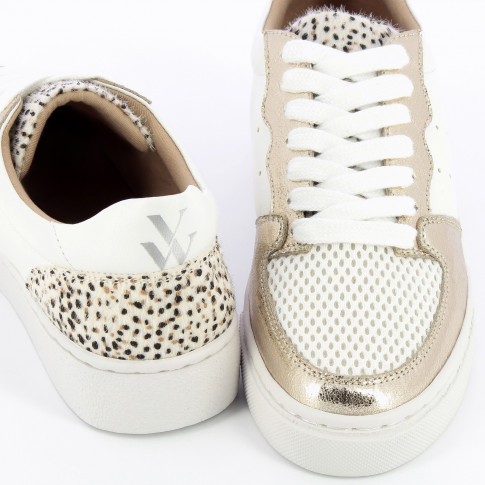 White sneakers with gold details