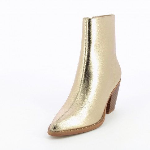 Textured gold ankle boots with heel