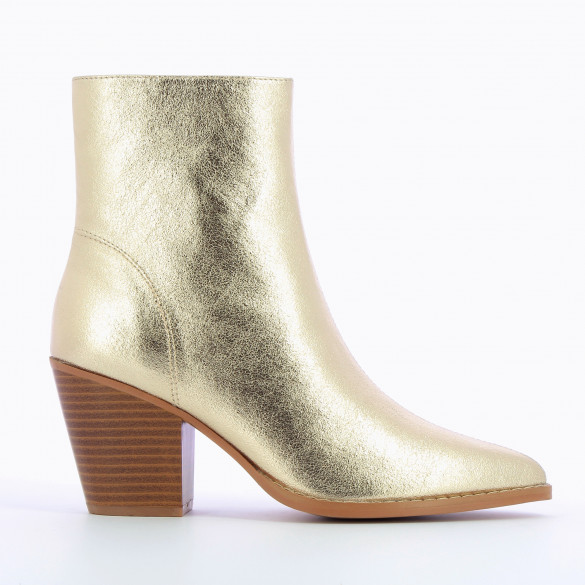 ankle boots gold textured effect woman wood effect heel pointed toe Vanessa Wu zip closure
