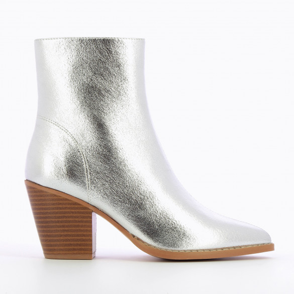 ankle boots silver textured effect woman cuba heel high wood effect Vanessa Wu with pointed toe
