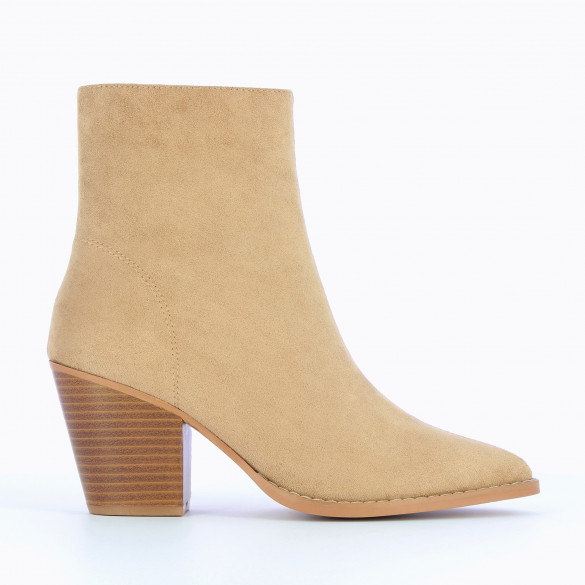 ankle boots with pointed toe beige suedette woman with cuban heel wood effect Vanessa Wu topstitching
