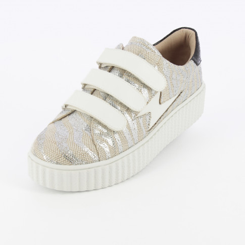 Beige and silver lightning sneakers with burlap effect