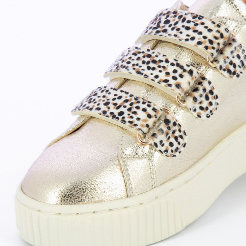 Gold sneakers with cheetah velcro